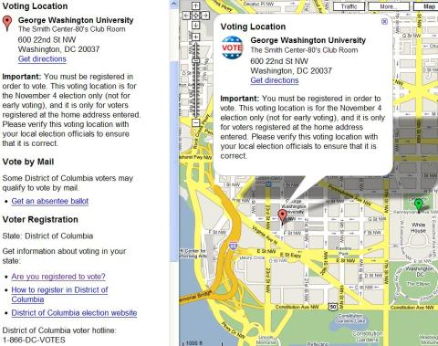 Google Map with Voting Information