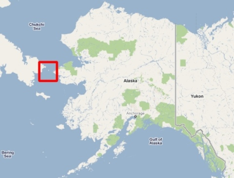 Map of Alaska showing Diomede Islands location