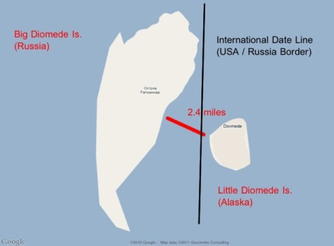 Map of Big Diomede Island and Little Diomede Island
